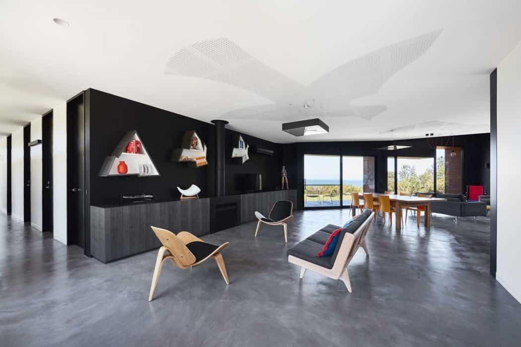 casa moderna en Australia salón con toques de aves
