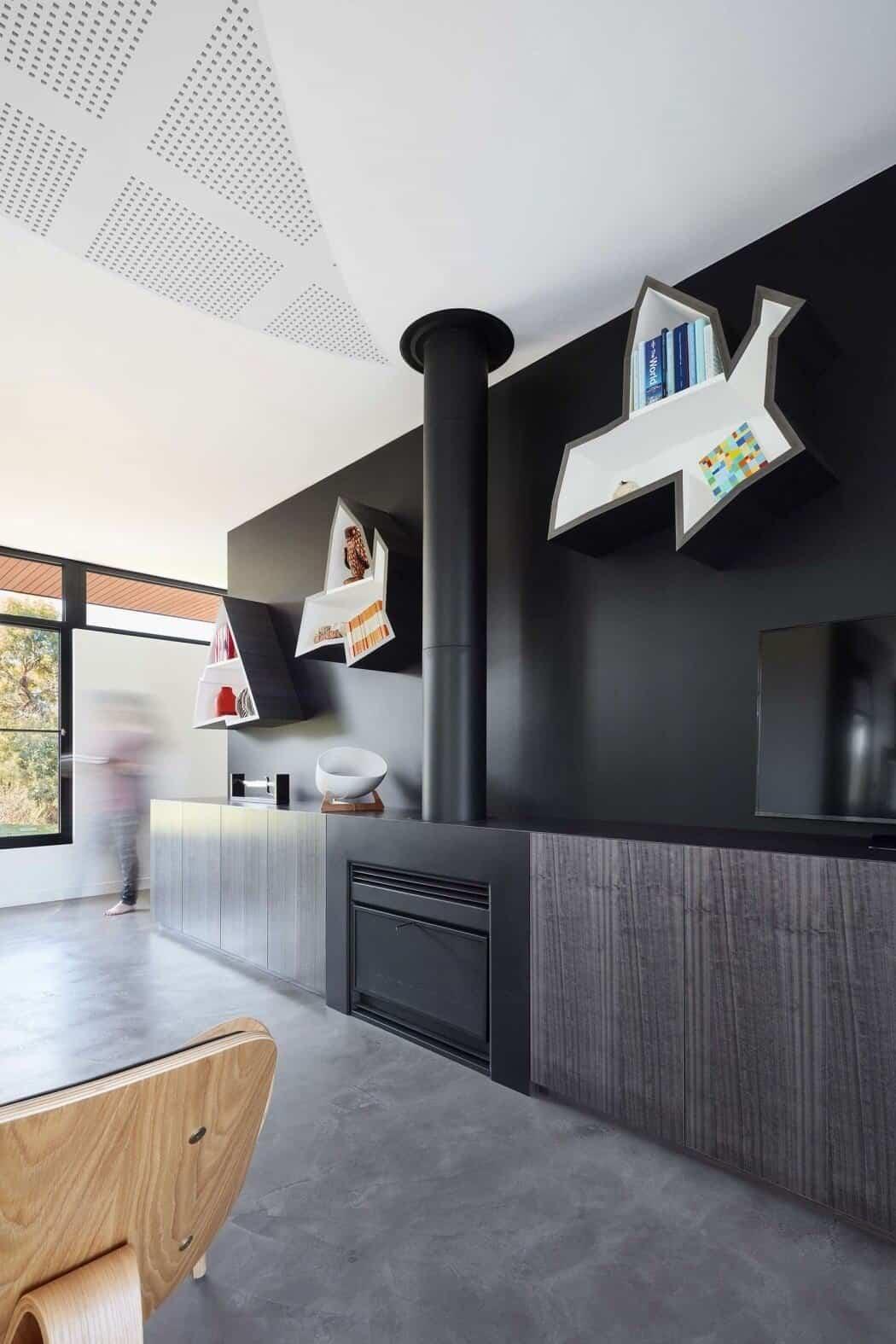 casa moderna en Australia - estanterías de aves