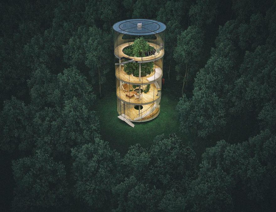 diseño casa circular en un bosque 1
