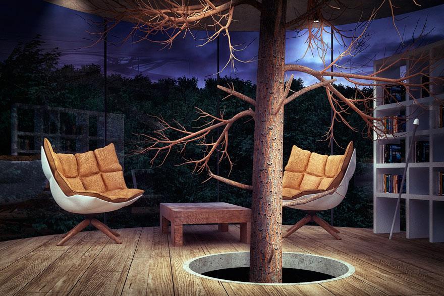 diseño casa circular en un bosque 2