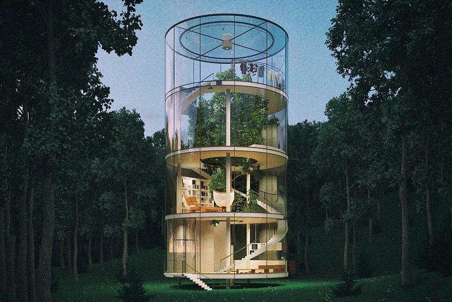diseño casa circular en un bosque 3