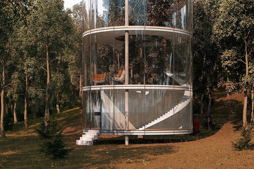 diseño casa circular en un bosque 4