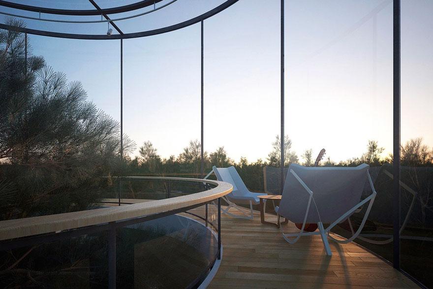 diseño casa circular en un bosque 5