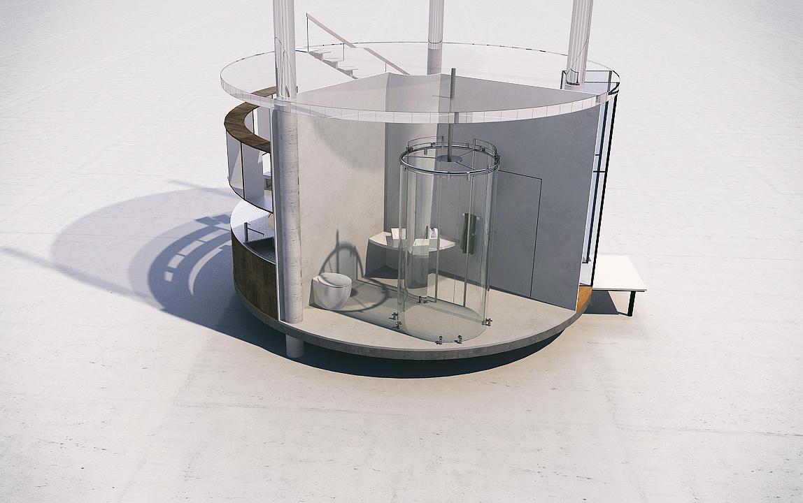 diseño casa circular en un bosque 8