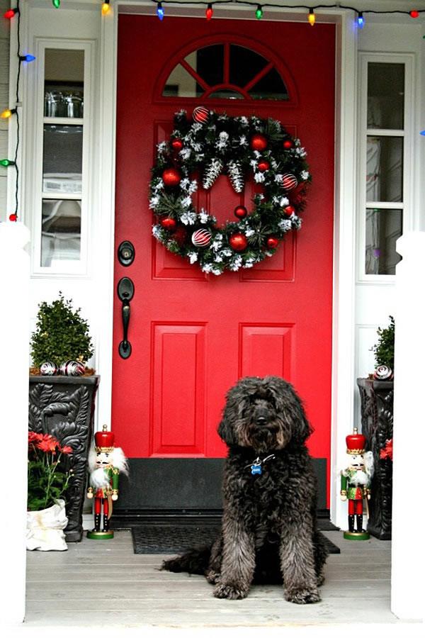 puertas navideñas elegantes 1 - puerta clásica