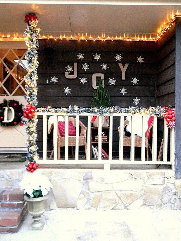 puertas navideñas elegantes 5 - luces y espumillón
