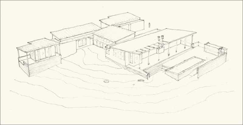 Casa de madera con techo inclinado 2