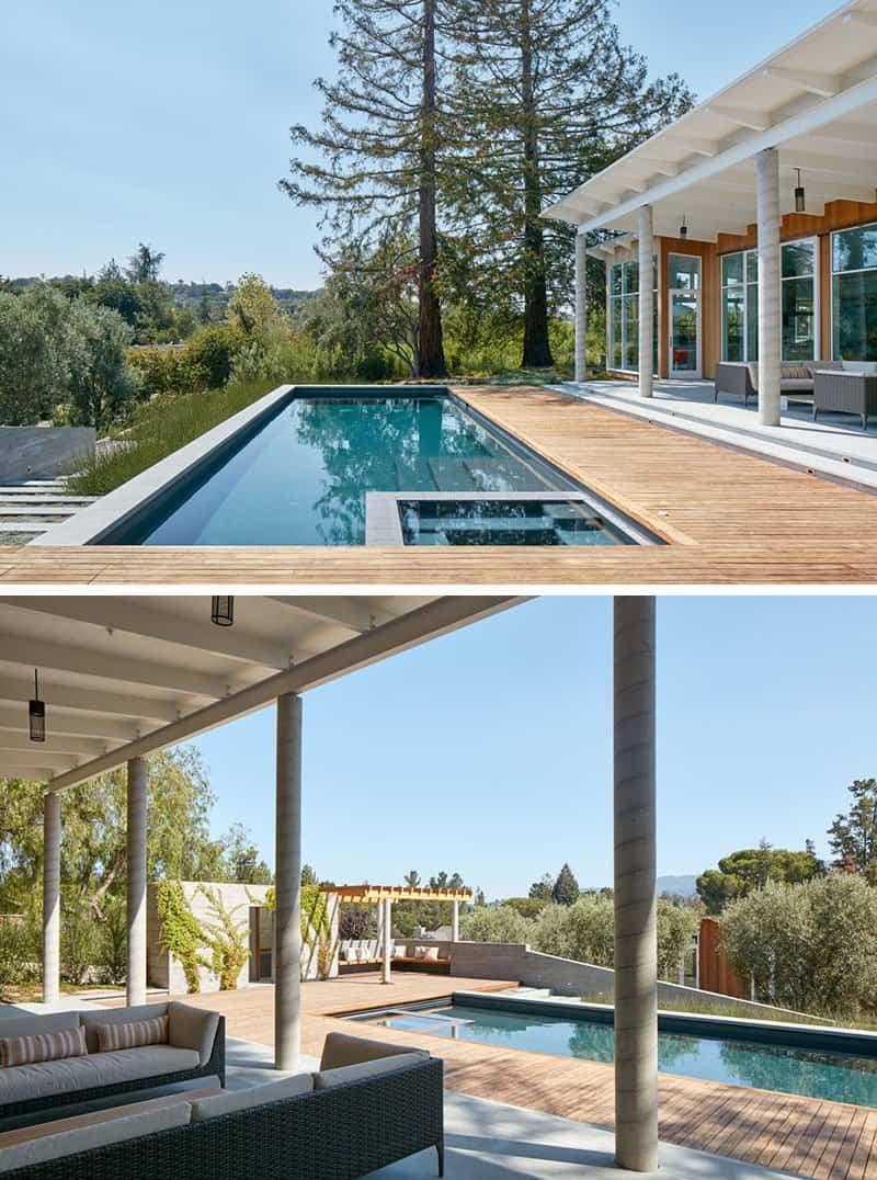 Casa de madera con techo inclinado 8