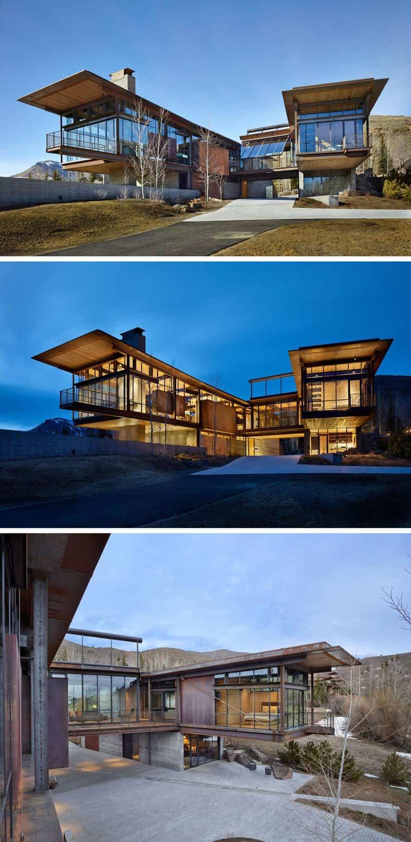 El dise o de esta moderna casa de monta a est lleno de for Casa en la montana