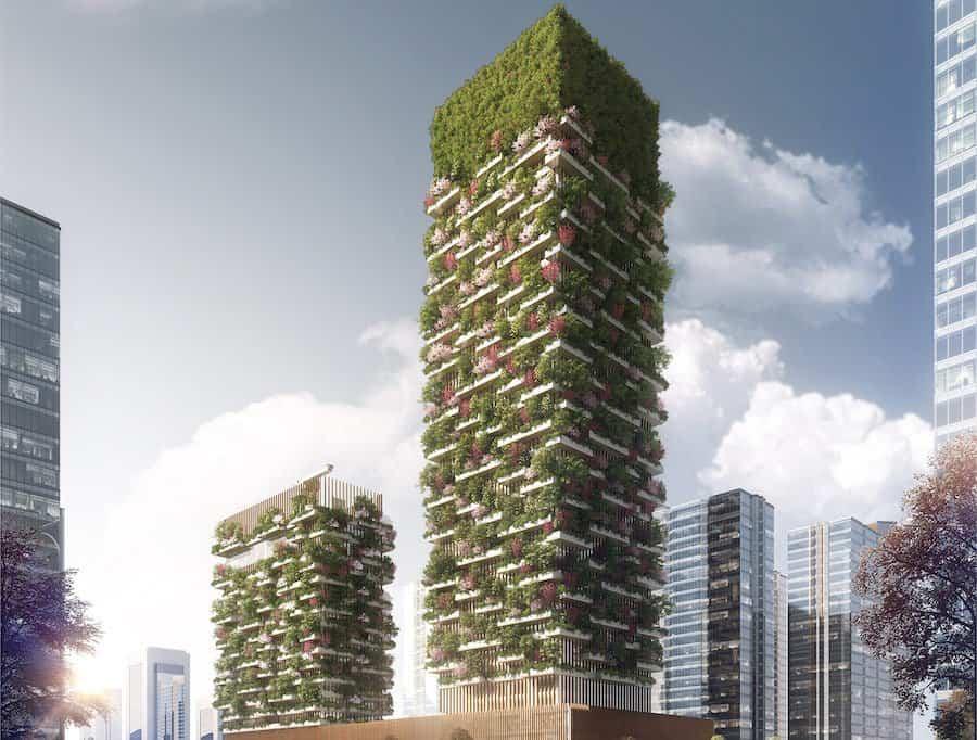 proyecto de bosque vertical formado por dos torres