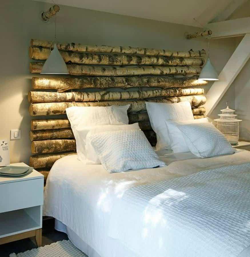 cabeceros de cama 11 troncos de madera