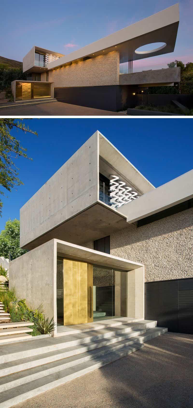 Las vistas de la ciudad que ofrece esta moderna casa de for Casa moderna hormigon
