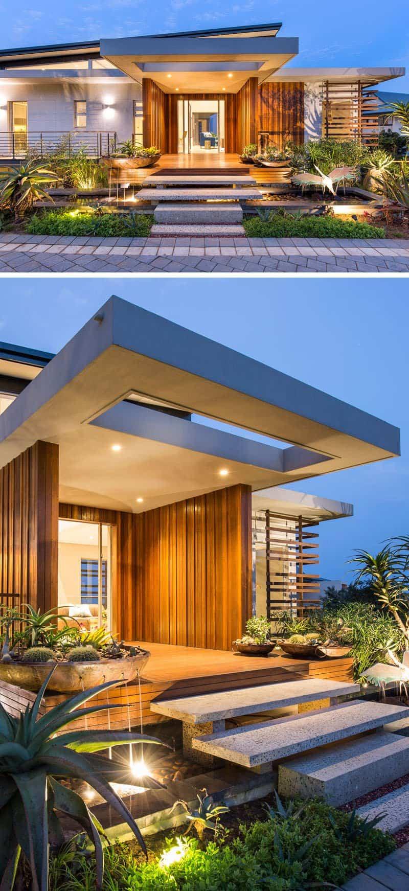 casa moderna alrededor de una piscina cubierta 2
