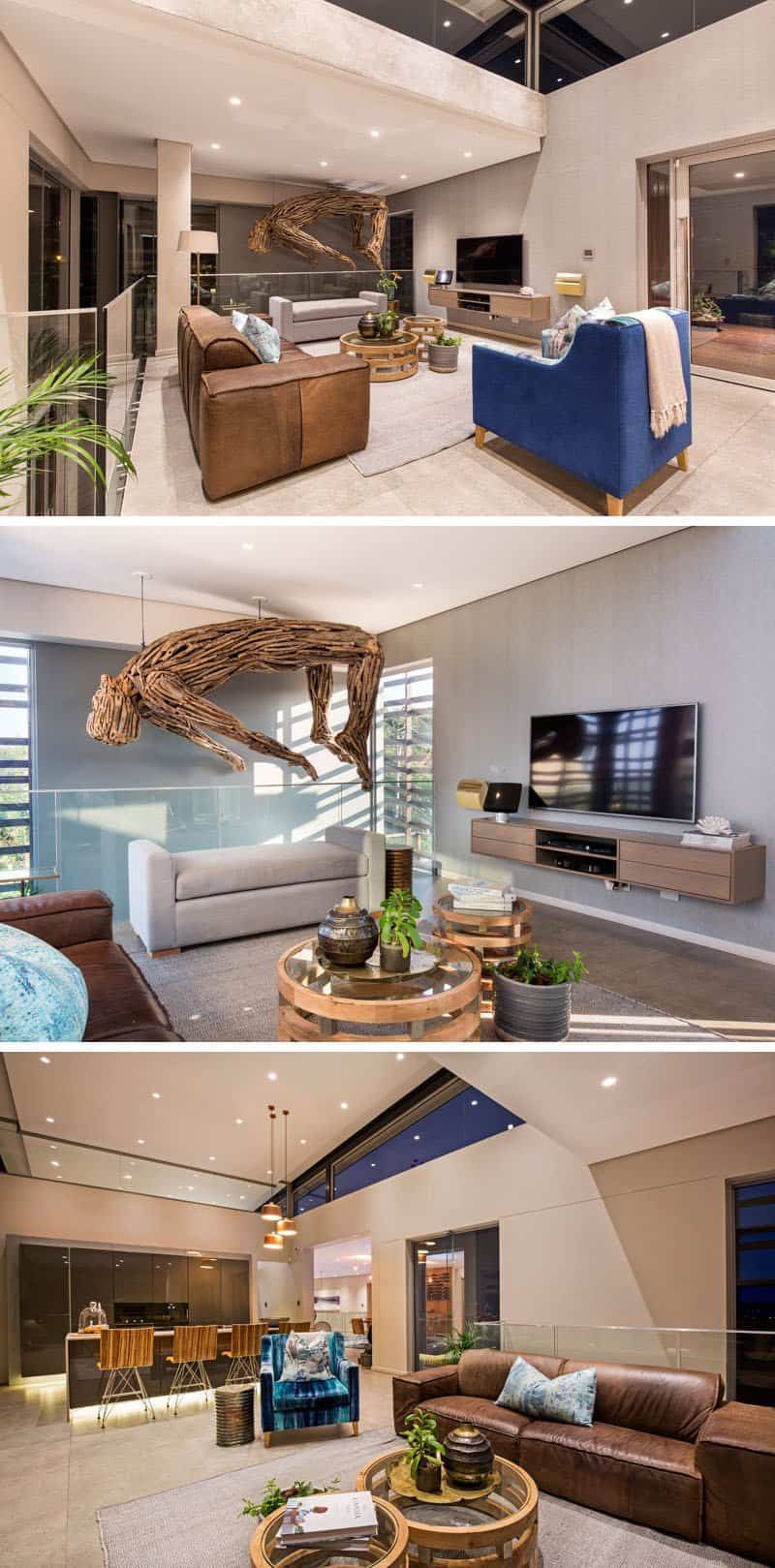 casa moderna alrededor de una piscina cubierta 3