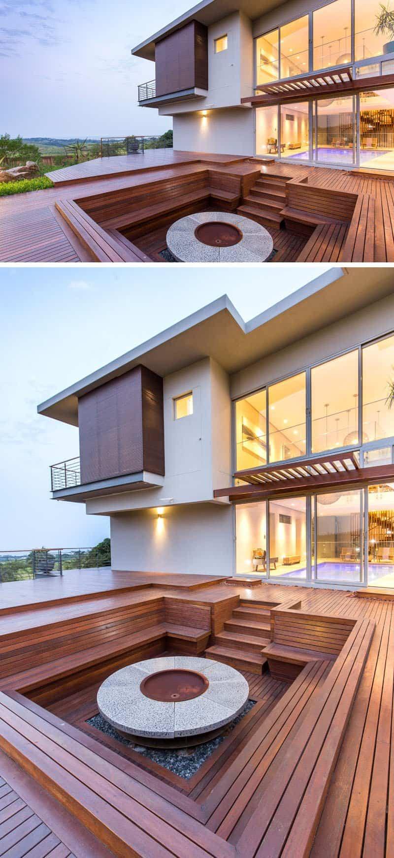Impresionante casa construida alrededor de una piscina for Cubiertas para techos de casas