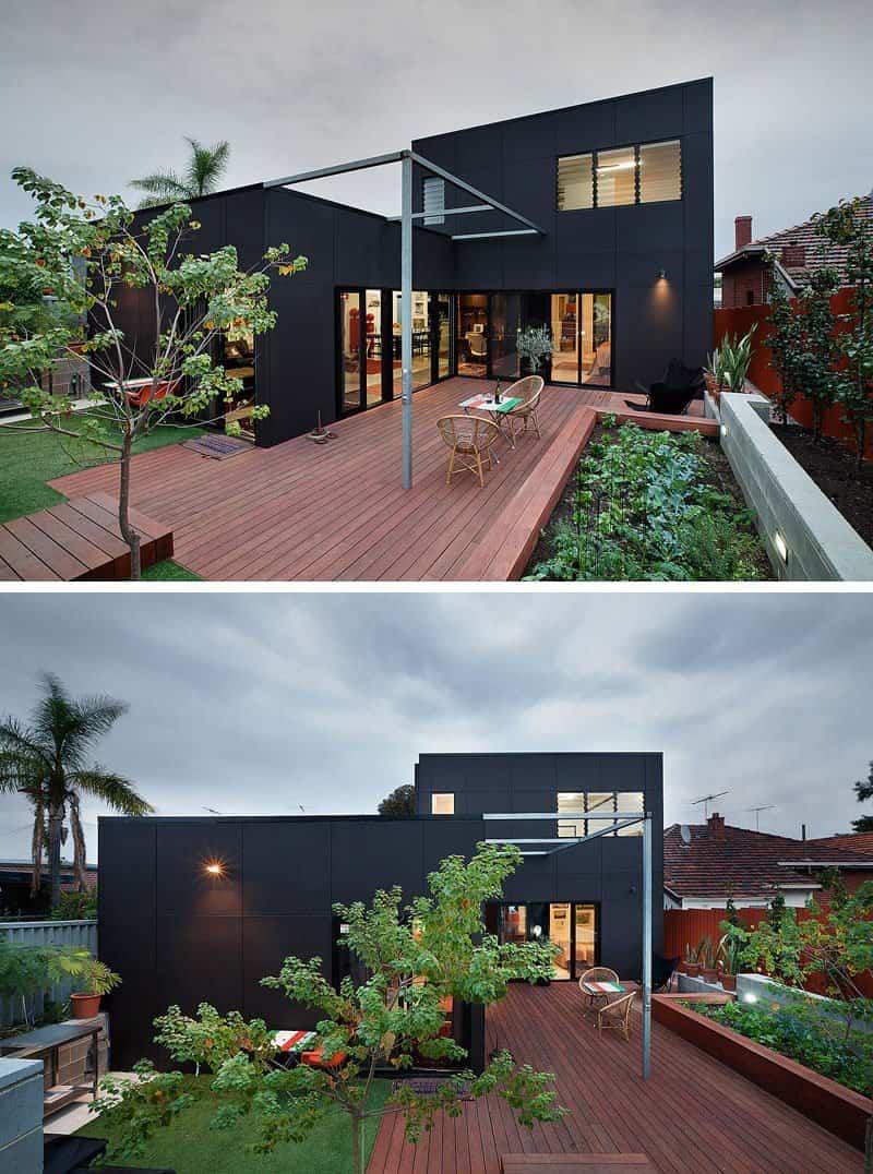 14 ejemplos de casas modernas con exteriores negros Pisos para exteriores de casas modernas