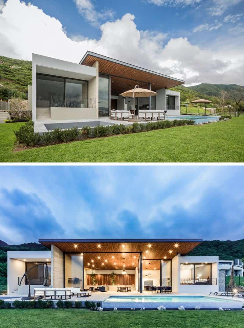 casa moderna con techo inclinado 7