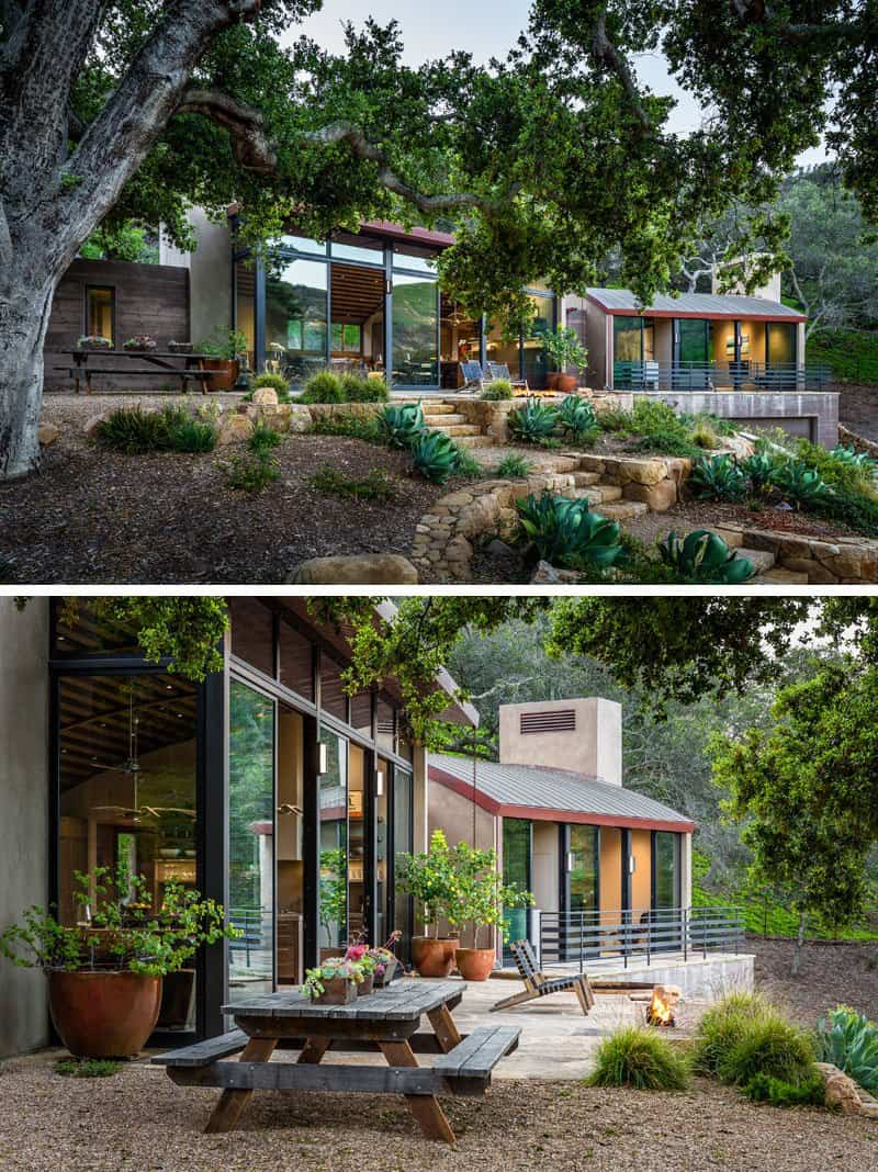 Moderna casa que cuenta con techos de madera curvos