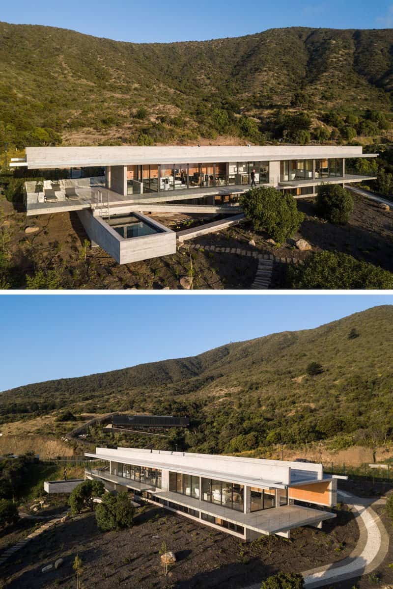 Diseñan una moderna casa de hormigón con una piscina en el voladizo